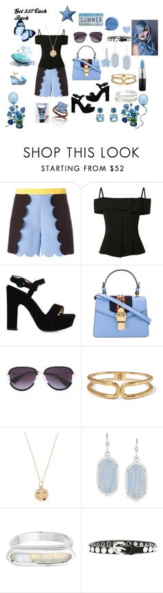 """""""Summer fest..,"""" by jamuna-kaalla ❤ liked on Polyvore featuring MSGM, Theory, Paul Andrew, Gucci, Kenneth Jay Lane, Alison Lou, Kendra Scott, Monica Vinader, Diesel and MAC Cosmetics"""
