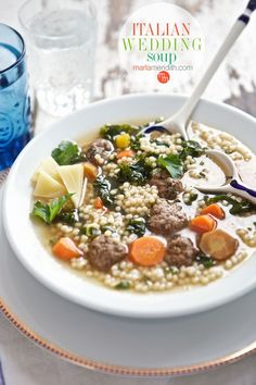 Italian Wedding Soup: This is the perfect week night or anytime meal. Simple to prepare & a healthy blend of veggies, mini meatballs & satisfying broth.