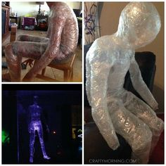 "If you want to make scary clear ghost decorations, here's an awesome technique that is so cheap to make!! I first posted this idea on Facebook ""Wrap a person in sections in packing tape. Sticky side out first then sticky side on top. Then cut down the side and tape together at the end. Fun …"