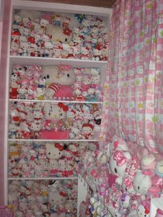 Another WOW Hello Kitty Plushy Collection. ALL I see are all these little eyes staring back at me. Hello Kitty Shoes, Hello Kitty Plush, Hello Kitty Items, Here Kitty Kitty, Cute Bento Boxes, Miss Kitty, Kawaii Room, Hello Kitty Collection, Cute Stuffed Animals