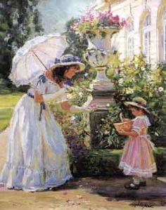 Picking Flowers #8  . ALEXANDER AVERIN    born in 1952.... Russian