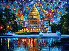 Capitol At Night Washington - Palette Knife Oil Painting On Canvas By Leonid Afremov Painting