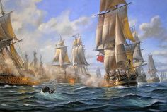 "PATRICK O'BRIEN (American, Contemporary)   ""The Battle of the Chesapeake, September 5, 1781""...   ................................♥...Nims...♥"