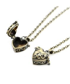 Bronze Heart Pill Box Necklace- Vintage Style Jewellery - Love Locket Charm - Vintage Gold Chain Long Necklace - Gift Jewelry