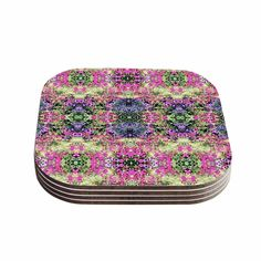Kess InHouse Carolyn Greifeld Cascade Reflections Multicolor Compressed Wood Abstract Coasters (Pack of 4) (Cascade Reflections), Multi