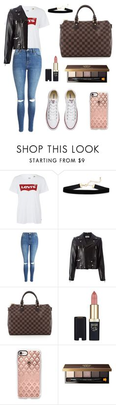 """Untitled #882"" by mariafilomena471 ❤ liked on Polyvore featuring Levi's, Topshop, Yves Saint Laurent, Louis Vuitton, L'Oréal Paris, Casetify, Bobbi Brown Cosmetics and Converse"