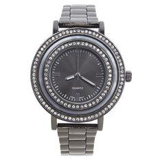 Lane Bryant Double rhinestone watch, Women's, Hematite (2,310 INR) ❤ liked on Polyvore featuring jewelry, watches, accessories, hematite, bracelet watches, rhinestone jewelry, rhinestone bracelet, bracelet jewelry and hematite bracelet