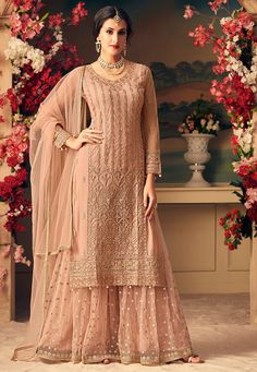 Dull Pink Designer Heavy Embroidered Net Sharara Suit - Fabric Only Sharara Designs, Pakistani Bridal, Pakistani Dresses, Pakistani Suits, Indian Designer Outfits, Indian Outfits, Designer Dresses For Wedding, Indian Clothes, Party Wear Dresses