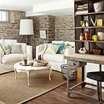 The walls and the furniture make this basement a great place to do anything!
