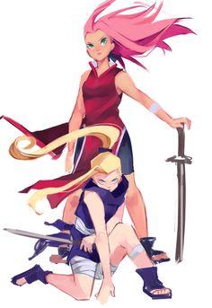 Sakura and Ino / SakuIno Anime Naruto, Naruto Girls, Naruto Fan Art, Naruto Shippuden Anime, Madara Uchiha, Naruto Sasuke Sakura, Sakura Haruno, Narusaku, Sasunaru