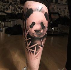Panda tattoo Calf Tattoo, Leg Tattoos, Body Art Tattoos, Sleeve Tattoos, Panda Bear Tattoos, Animal Tattoos, Lion Tattoo Design, Tattoo Designs, Couple Tattoos