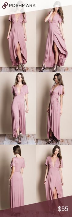 """Full Wrap Maxi Dress Mauve full wrap maxi dress. This is an ACTUAL PIC OF THE ITEM. All photography done personally by me. NO TRADES DO NOT ASK. True to size.  • Mirela is wearing the size small • 5'10"""" Bust 33 inches Waist 24 inches Hips 36 inches Bare Anthology Dresses Maxi"""