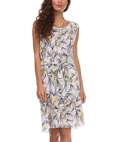 Another great find on #zulily! Navy Floral Tie-Waist Sleeveless Dress by A La Tzarina #zulilyfinds