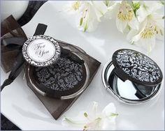 Reflections Elegant Black & White Mirror Compact Favors @Ericka Silva @Nickole Neary