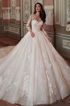 Fantastic Tulle & Lace Scoop Neckline Ball Gown Wedding Dress With Lace Applique. Fantastic Tulle & Lace Scoop Neckline Ball Gown Wedding Dress With Lace Appliques & Flowers & Beadings Dresses Princess Wedding Dresses, Dream Wedding Dresses, Wedding Gowns, Tulle Wedding, Wedding Flowers, Lace Weddings, Mermaid Wedding, Wedding Reception, Queen Wedding Dress