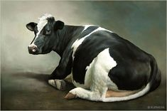Sien the Cow, oil/panel 24 x 36 inch x 90 cm) © 2010 Klimas Farm Animals, Animals And Pets, Cute Animals, Cow Pictures, Animal Pictures, Animal Paintings, Animal Drawings, Horse Drawings, Holstein Cows