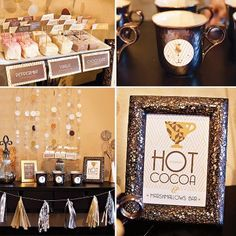 Photo: Gourmet Hot Cocoa Bar ideas with FREE Printables! {Metallic Holiday Party Theme} http://hwtm.me/YUctUp