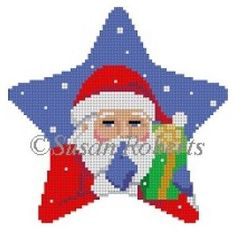 Star Santa & Present Cross Stitch Owl, Cross Stitching, Cross Stitch Patterns, Plastic Canvas Ornaments, Plastic Canvas Patterns, Hand Embroidery Patterns Flowers, Beading Patterns, Cross Stitch Christmas Ornaments, Christmas Cross