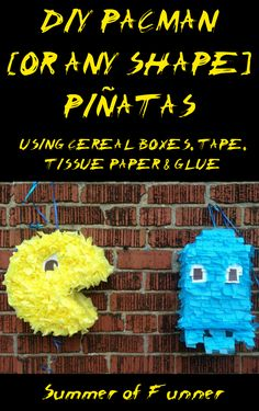 DIY Pacman or any shape pinatas using cereal boxes, tape, tissue paper and glue