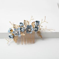 Add a little 'something blue' to your wedding with this lovely bridal hair comb. The small and delicate flowers are lovely and will add a touch of elegance to your hairdo. Wedding Jewellery Gifts, Wedding Jewelry, Something Blue Bridal, Mother Of Pearl Jewelry, Cricut, White Earrings, Wedding Earrings, Wedding Hair Accessories, Elegant Wedding