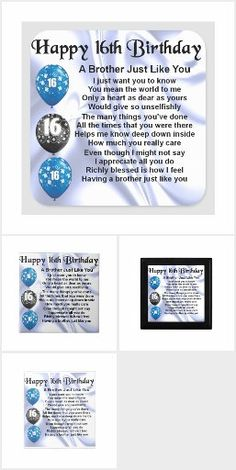 Brother Poems, Gifts For Brother, Happy 16th Birthday, You Mean The World To Me, Detail Shop, Holiday Photos, Business Supplies, Knowing You, Holiday Pictures