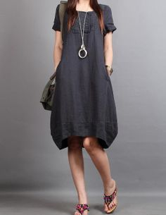 claradeparis.com linen short sleeved tunic dress.