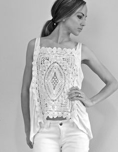 DIY Lace Top- cut out the middle of a t shirt and stitch in a doily!