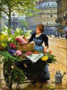 la marchande de fleurs, 1897 by Louis Marie de Schryver (French, 1862-1942)