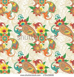 Seamless colorful background pattern with paisley and flowers. Vector illustration. - stock vector