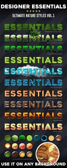 Designer Essentials Nature Text Effect Photoshop Styles. Download here: https://graphicriver.net/item/designer-essentials-nature-vol1/16963566?ref=ksioks