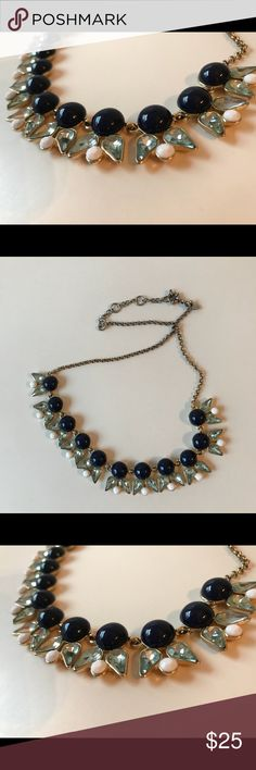 Last call!!JCrew Necklace in Navy, Aqua, and white Closing my closet! Last call- will be donated on 4/16    Lovely necklace. Back chain turned a little silver from gold but not noticeable when worn. Classic design! J. Crew Jewelry Necklaces