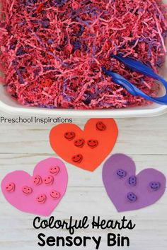 This colorful hearts sensory bin is inexpensive and easy to set up. Perfect for kids to practice fine motor and early math skills during Valentine's Day.