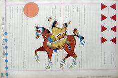 Among Plains tribes, women traditionally paint abstract, geometrical designs, whereas men paint representational designs. The men's designs were often heraldic devices or visions painted on shields, tipis, shirts, leggings, or robes.