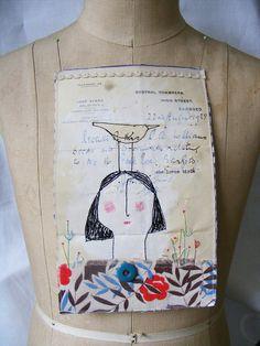 Handmade Original Mixed Media piece : Lucinda Lopsided Lovely with bird