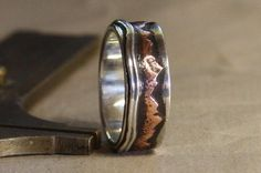 Mountain Lake. Mans rustic engagement ring of by IrinisWorld