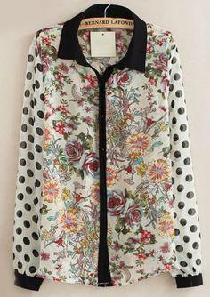 White Polka Dot Long Sleeve Floral Chiffon Blouse