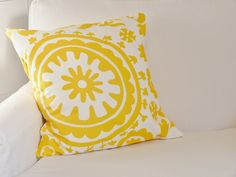 17x17 Yellow Suzani Throw Pillow Cover by metzinteriors on Etsy, $15.00