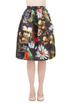 Back on Tropic Skirt. Sizzle with tropical charm - no matter how far from the equator you are! #black #modcloth