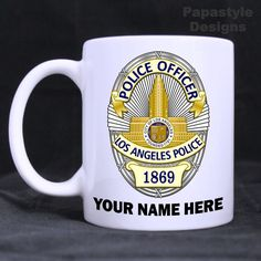 LAPD Police Badge Personalized 11oz Coffee Mugs Made in the USA. #Handmade