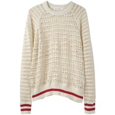 Étoile Isabel Marant Cilla Crochet Lace Pullover (14.840 RUB) ❤ liked on Polyvore featuring tops, sweaters, shirts, jumpers, crewneck sweater, striped shirt, red sweater, red lace shirt and raglan shirts