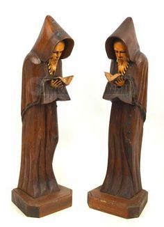 Carved Wooden  Wizard  Bearded Statues
