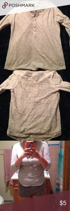 grey 3/4 sleeve shirt a simple grey 3/4 length sleeve shirt with a lace detail back that's perfect for fall and winter. the entire back is lace so it adds a bit of sexy to the every day! Aeropostale Tops Tees - Long Sleeve
