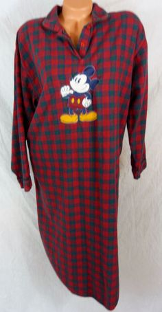 Disney Store Women Size L Large Sleep Shirt Mickey Mouse Red Plaid Flannel PJ #Disney #Gowns