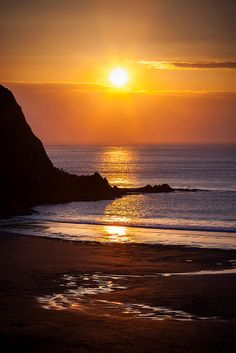 Sunset in Putsborough, England, United Kingdom