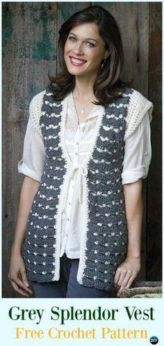 Crochet Grey Splendor Vest Free Pattern - #Crochet; Women #Vest; Free Patterns