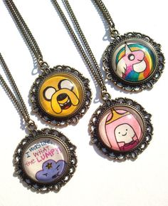 Adventure Time Necklaces Hand drawn by EternalGirl on Etsy, $15.00