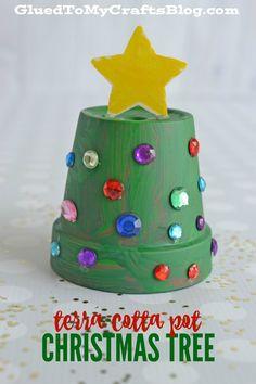 Terra Cotta Pot Christmas Tree - Kid Craft - Glued To My Crafts