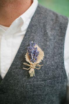 rustic lavender boutonniere http://www.weddingchicks.com/2013/10/16/rainy-day-georgian-wedding/