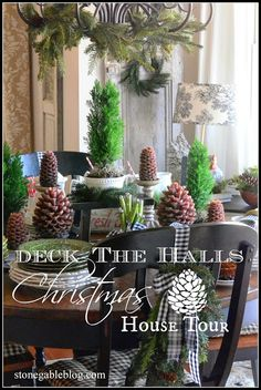 DECK THE HALLS HOUSE TOUR - StoneGable...do this to back of chairs with tartan ribbon?
