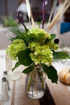 Fiddlehead ferns, green hydrangea and wheat bouquet